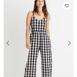 New Madewell Cami Wide Leg Jumpsuit Gingham Check